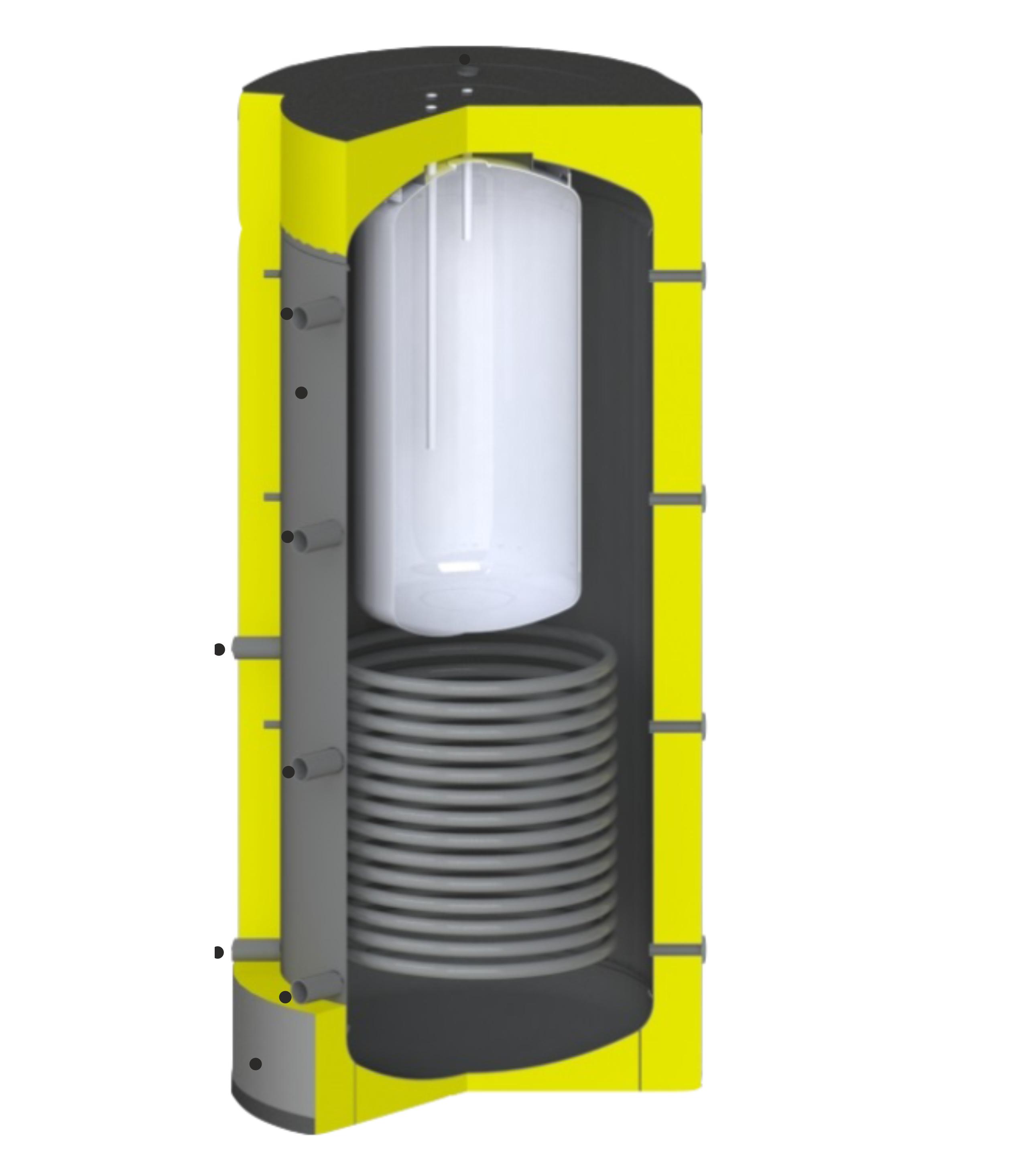 Puffer hőcserélővel és HMV tartállyal
